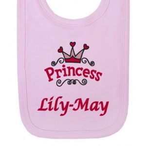 Princess Logo Any Name Baby Bib