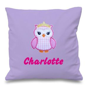 Princess Owl Any Name Embroidered Cushion