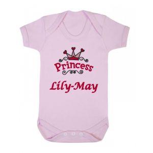 Princess Logo Any Name Baby Vest