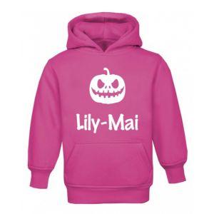 Halloween Pumpkin Silhouette Childrens Glow in Dark Hoodie