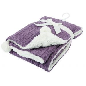Any Name Purple Cable Knit Wrap Baby Blanket
