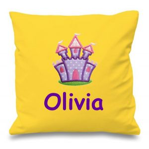 Purple Castle Any Name Embroidered Cushion