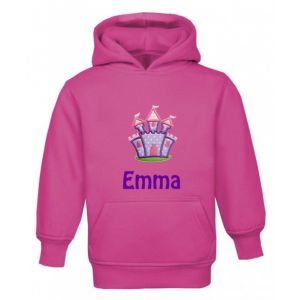 Purple Castle Any Name Childrens Embroidered Hoodie