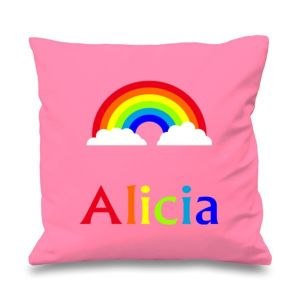 Rainbow Any Name Printed Cushion