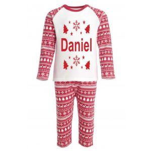Christmas Red Fairisle Inspired Any Name Childrens Pyjamas