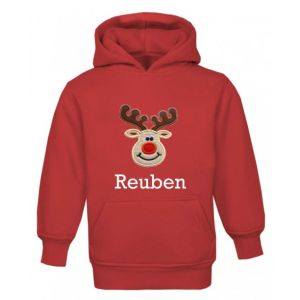 Christmas Reindeer Any Name Childrens Embroidered Hoodie