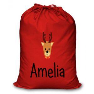 Reindeer Any Name Printed Christmas Sack
