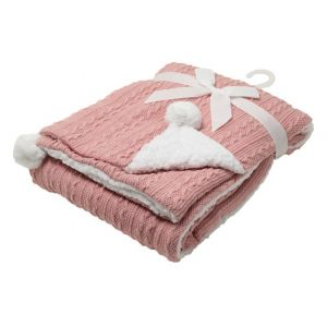 Any Name Rose Gold Cable Knit Wrap Baby Blanket
