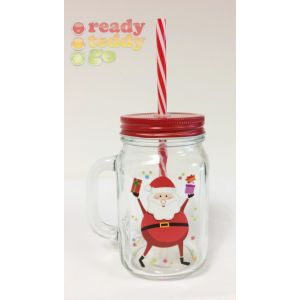 Santa Glass Jar Christmas Cup with Straw