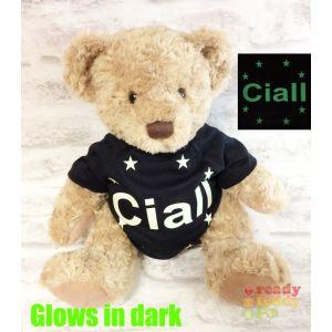 Large Sherwood Teddy Bear - Glow in the Dark T-Shirt Name + Stars