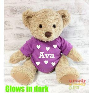 Large Sherwood Teddy Bear - Glow in the Dark T-Shirt Name + Hearts