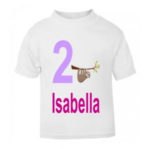 Sloth Birthday Any Name & Number Childrens Printed T-Shirt