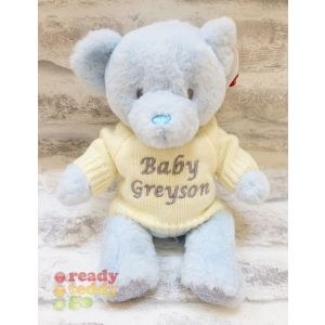 Baby Boy Blue Keel Eco Teddy Bear with Knitted Jumper