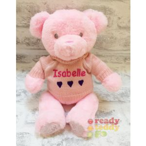 Baby Girl Pink Keel Eco Teddy Bear with Knitted Jumper
