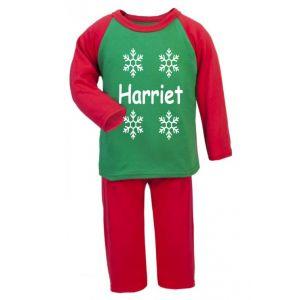 Snowflakes Any Name Childrens Glow in Dark Pyjamas
