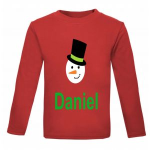Christmas Snowman Any Name Childrens Printed T-Shirt