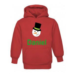 Christmas Snowman Any Name Childrens Hoodie