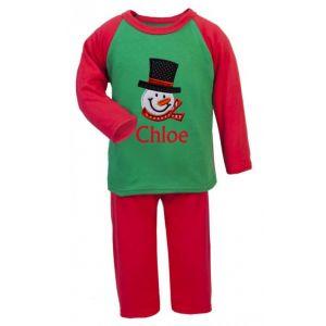 Christmas Snowman Any Name Embroidered Pyjamas