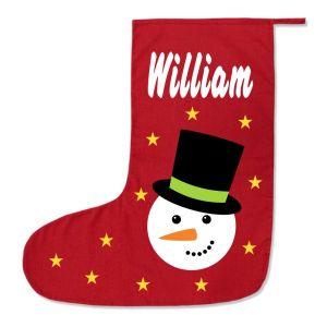 Snowman Any Name Printed Christmas Stocking