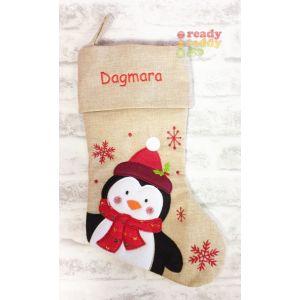 Hessian Penguin Christmas Stocking