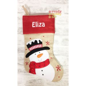 Hessian Snowman Christmas Stocking