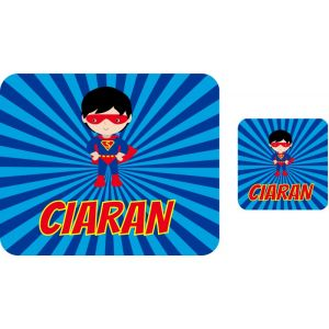 Super Hero Boy Hardboard Placemat & Coaster