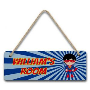 Super Hero Boy Hanging Door Sign