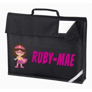 Superhero Girl Any Name Book Bag