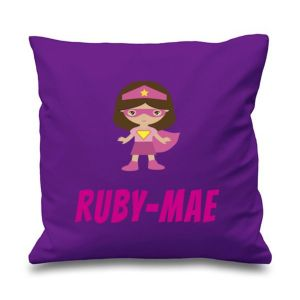 Superhero Girl Any Name Printed Cushion