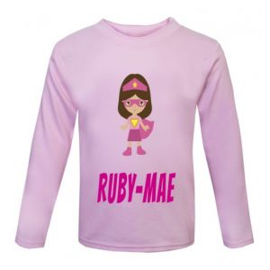 Superhero Girl Any Name Childrens Printed T-Shirt