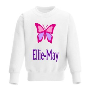 Butterfly Any Name Childrens Sweatshirt / Jumper