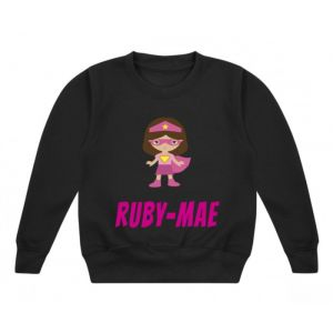 Superhero Girl Any Name Childrens Sweatshirt / Jumper