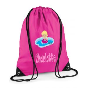 Swimming Girl Any Name Drawstring Bag