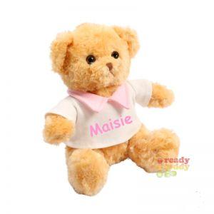 Teddy Bear wearing Cream T-Shirt with Pink Collar
