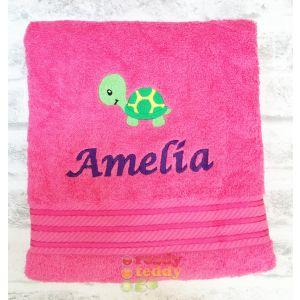 Name + Tortoise Embroidered Design Bath Towel