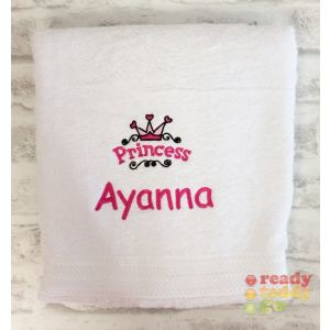 Name + Princess Logo Embroidered Design Bath Towel