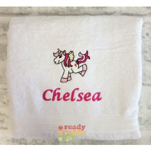 Name + Unicorn Embroidered Design Bath Towel