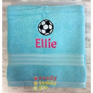 Name + Football Embroidered Design Bath Towel