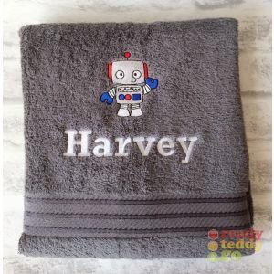 Name + Robot Embroidered Design Bath Towel