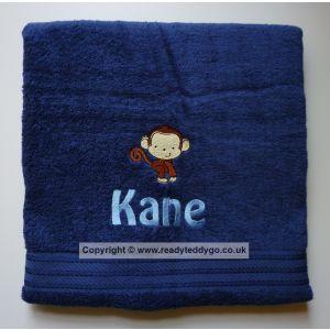 Name + Monkey Embroidered Design Bath Towel