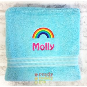 Name + Rainbow Embroidered Design Bath Towel
