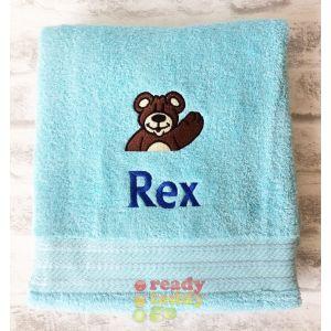 Name + Bear Waving Embroidered Design Bath Towel