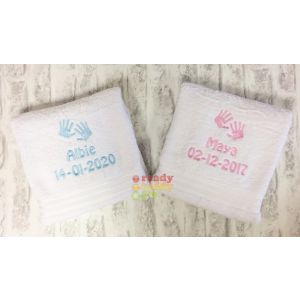 Name + Hand Prints Embroidered Design Bath Towel