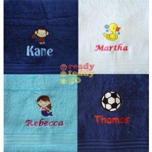 Name + Embroidered Design Bath Towel