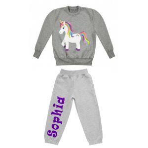 Unicorn Any Name Childrens Tracksuit