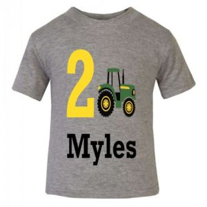 Tractor Birthday Any Name & Number Childrens Printed T-Shirt
