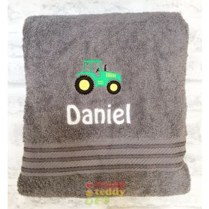 Name + Tractor Embroidered Design Bath Towel