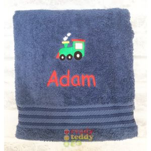 Name + Train Embroidered Design Bath Towel