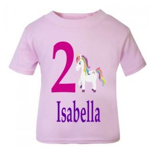 Unicorn Birthday Any Name & Number Childrens Printed T-Shirt