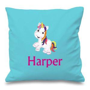 Unicorn Any Name Embroidered Cushion